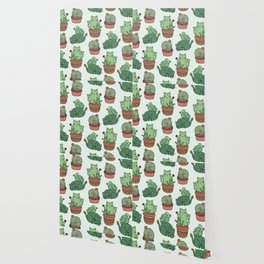 Cacti Cat pattern Wallpaper