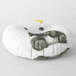 Panda Watercolor Animal with Yellow Balloon Nursery Baby Animals Floor Pillow