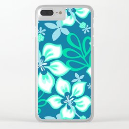 Aqua and White Hawaiian Hibiscus Flower Bloom Pattern on Blue Clear iPhone Case