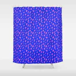 Blue and Pink Ink Dot Pattern Shower Curtain