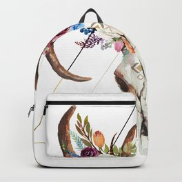 Geometric tribal floral bull skull Backpack