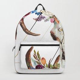 Geometric tribal floral bull skull Backpack