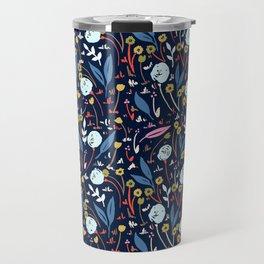 Ditsy Folk Dark Floral Pattern Travel Mug