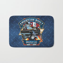 American Built Muscle - Classic Muscle Car Cartoon Illustration Bath Mat