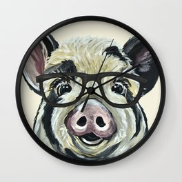 Pig with Glasses, Cute Farm Art Wall Clock