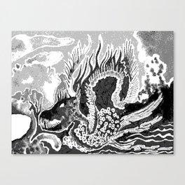 greyscale dragon Canvas Print