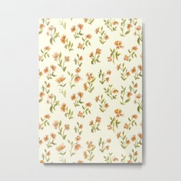 Orange Vintage Floral Pattern Metal Print