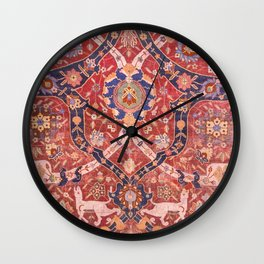 Arabesque Floral // 17th Century Rich Red Colors Interlaced Blue Bands Dragons Lions Pattern Rug Wall Clock