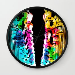 Urban light and LACMA, USA with colorful painting abstract in blue pink green red yellow Wall Clock