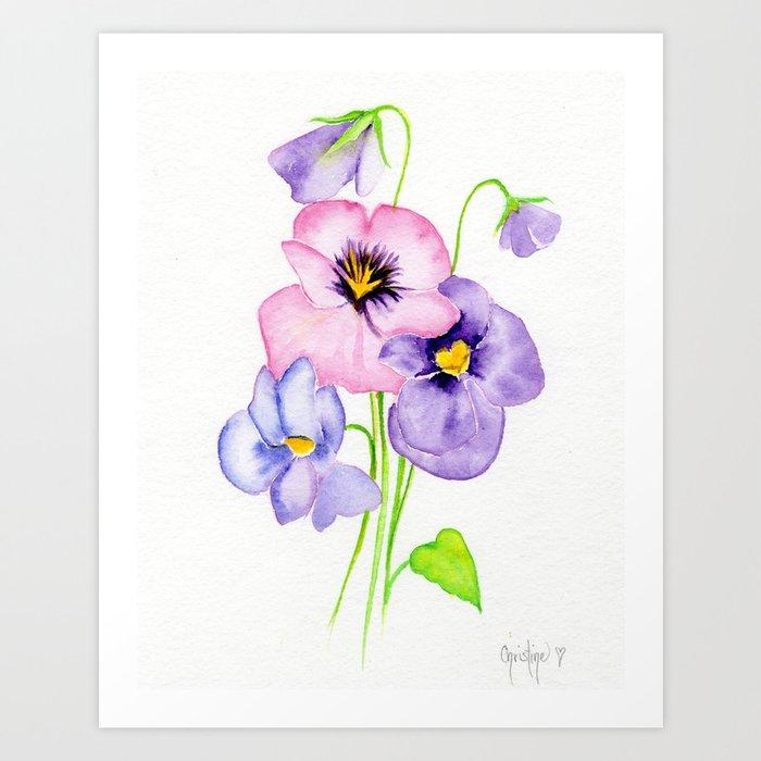 Pretty Pansies Kunstdrucke