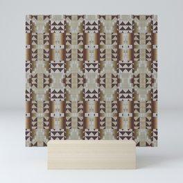 Khaki Beige Dark Brown Mosaic Pattern Mini Art Print