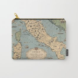 1935 Vintage Map of Italy and Vatican City Carry-All Pouch