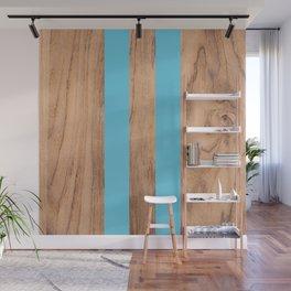 Striped Wood Grain Design - Light Blue #807 Wall Mural
