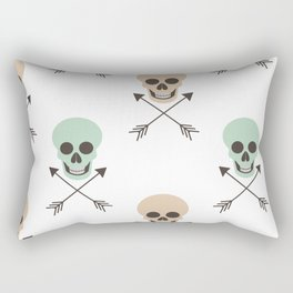 abstract pattern background illustration with human skulls and arrows Rectangular Pillow