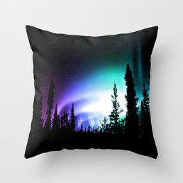 Aurora Borealis Forest Throw Pillow