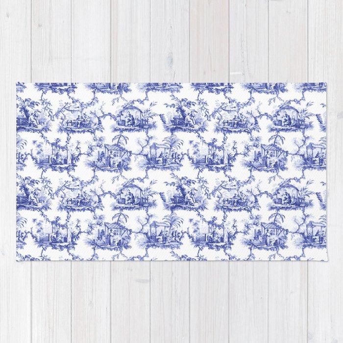 Blue Toile Rug Rugs Ideas
