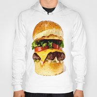 burger Hoodies featuring Burger by Owl Things