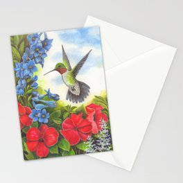 Hummingbird and Delphiniums Stationery Cards