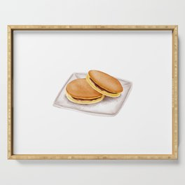 Watercolor Illustration of A classic Japanese confection Dorayaki Serving Tray
