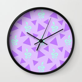 Crawling snakes silhouettes and abstract triangle shapes. Stylish classy whimsical artistic lilac purple retro vintage geometric animal nature pattern. Reptiles. Geometry. Wall Clock
