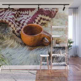 A Vintage Ceramic Mug, Skins And A Textile Cloth Wall Mural