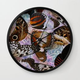 Colorful Butterfly Wing Mosaic Collage Wall Clock