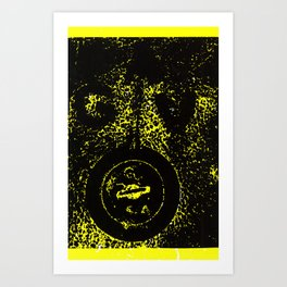 Black Valve on Yellow Art Print