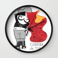 onesie Wall Clocks featuring Hernando loves being a Matador by Farnell
