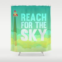 toy story Shower Curtains featuring reach for the sky.. toy story.. woody by studiomarshallarts