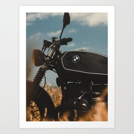 Vintage motorcycle photo, old motorbike, deep of field, bokeh effect, hasselblad Art Print