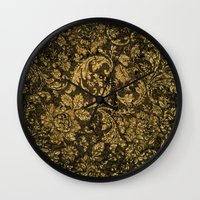 decorative Wall Clocks featuring Decorative damask by nicky2342