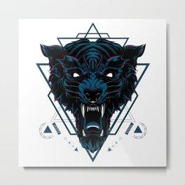 The Dark Wolf sacred geometry Metal Print