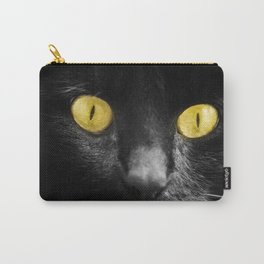close up black cat yellow eyes Carry-All Pouch