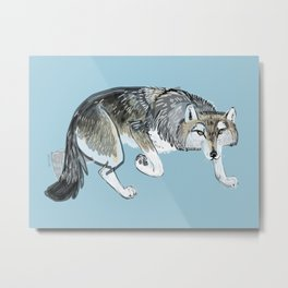 Totem Hokkaido grey wolf (Blue) Metal Print