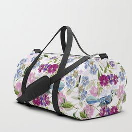Vintage & Shabby Chic - Blue Jay and Flowers Duffle Bag