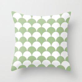 Fan Pattern 321 Sage Green Throw Pillow