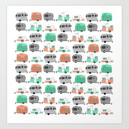 Vintage caravan pattern Art Print