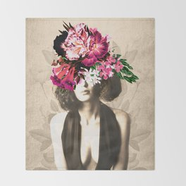 Floral Woman Vintage White Rose Gold Throw Blanket