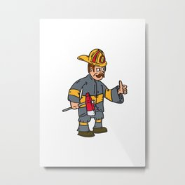 Fireman Firefighter Axe Thumbs Up Cartoon Metal Print
