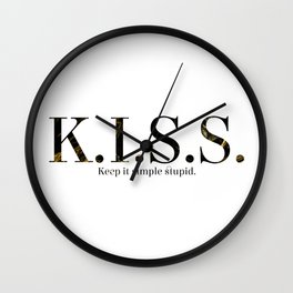 K.I.S.S. ~ Black Marble Font Wall Clock