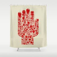 medicine Shower Curtains featuring Hand medicine by aleksander1