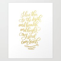 I Love Thee - Gold Art Print