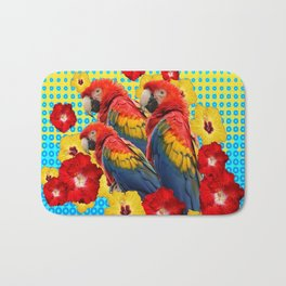 YELLOW-BLUE  FLORAL MACAWS & RED YELLOW HIBISCUS Bath Mat