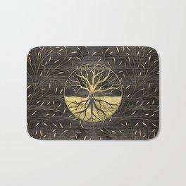 Golden Tree of life on wooden texture Bath Mat
