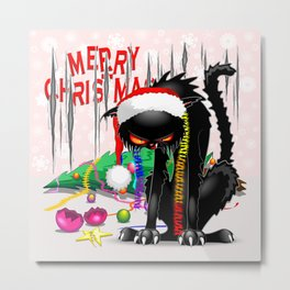 Evil Black Cat VS Christmas Tree Metal Print