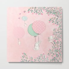 Cute flying Bunny with Balloon and Flower Rabbit Animal on pink floral backround Metal Print