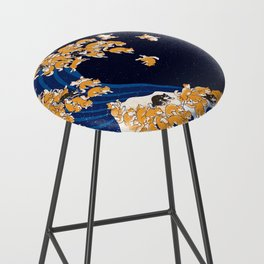 Shiba Inu The Great Wave in Night Bar Stool
