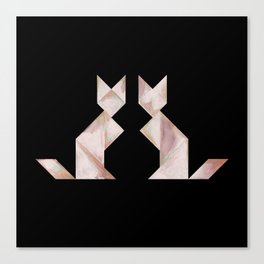 Tangram Cats Black & White Canvas Print