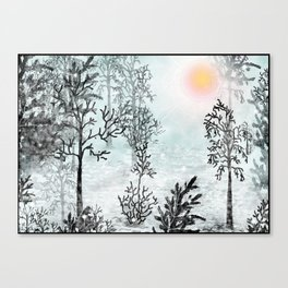 Winter in the woods . Canvas Print