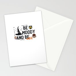 Today I can be moody and be a little witch - trick or treat - say boo and scary on - Halloween hand drawn quotes illustration. Funny humor. Life sayings. Spooky funny quotes. Stationery Cards